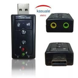 Placa De Som Usb 7.1 Adaptador Audio Headset Entrada P2 Fone E Microfone Sony Ps3