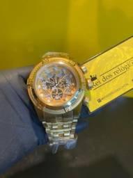 Relógio invicta Bolt Zeus skeleton dourado