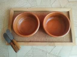 Recipiente para petisco de madeira c/espatula + Porta Copo de madeira