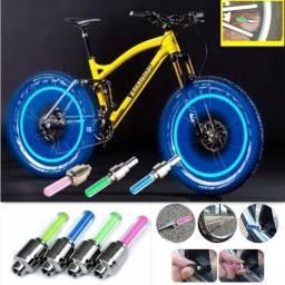 Par De Luz Led Azul Pneu Para Bicicleta/byke/ Carro/motos