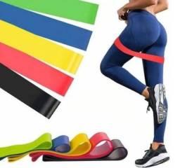 Kit com 5 elásticos Mini Band para exercícios de resistência Crossfit e pilates