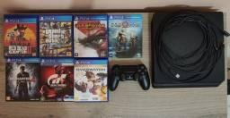 PS4 Slim 1TB + 7 Jogos Físicos