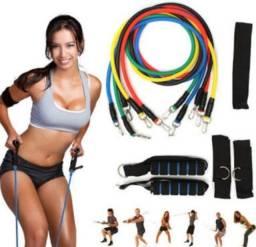 Kit de 11 peças de elástico para exercício de CrossFit e Pilates