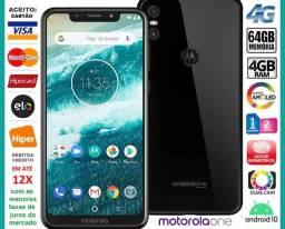 """Motorola One 64GB Octa Core, 4GB Ram, Tela 5.9"""", Dual Câm 13MP, Novíss, Caixa, NF e Gar"""