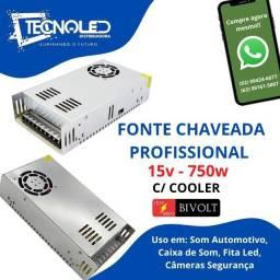 Fonte Chaveada Com Cooler 12v-15v 50a/50amp/50amperes 750w Bivolt Profissional