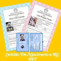 Certidão de nascimento e RG PET
