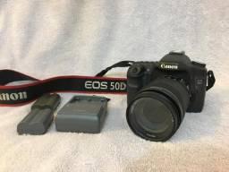 Canon 50d + 2 baterias + lente 55-250mm + carregador