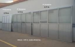 Divisória De Alumínio E Vidro C/ Porta, Med. 3,52x1,95m