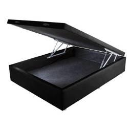 Base Cama Box Baú Casal com Borda 42x138x188 Preta