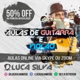Aulas de Violão e Guitarra Online (Pelo Skype ou Zoom)