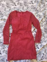 Vestido renda guippir manga longa