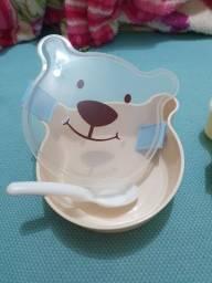 Pote plástico com trava carinha de urso