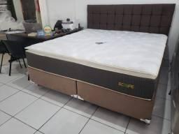 ::Conjunto cama Box Colchao Plumatex ecolife Queen Size (158x198) Luxo;;