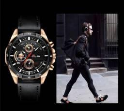 Moderno Relógios de esportes de couro casual para Homens