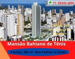 Mansão Bahiano de Tênis, 4 suítes, 305m², Andar Alto, 4 vagas,   Alto Padrão, na Graça