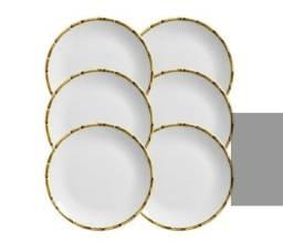 Conjunto 6 Pratos Raso Cerâmica Detalhes Bambu 27cm