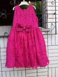Vestido rosa de renda para festa tamanho de 6 anos