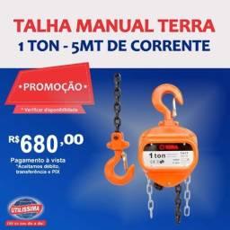 Talha Manual Terra 1 Tonelada - Com Corrente 5 Metros ? Entrega grátis