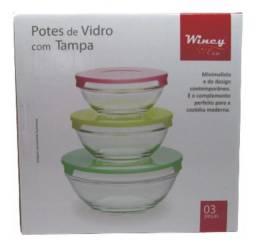 Conjunto 3 pote com tampa de vidro wincy