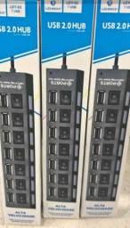 Hub USB 7 Portas, Bivolt Novo A Pronta Entrega