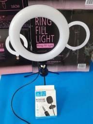 RING LIGHT 6 polegadas + TRIPÉ 16 CM + MICROFONE de LAPELA de BRINDE