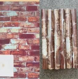 Título do anúncio: Chegou estampa de tijolinho para decorar sua sala papel parede