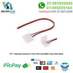 771 - Emenda Conector C/ Fio P Fita Led 3528 2 Vias Click 8mm Sem Solda