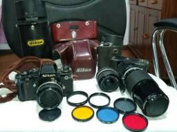 Câmera e lentes profissionais Nikon f3 analógica
