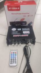 Amplificador potência bluetooth fm rádio carro casa 600w com controle remoto