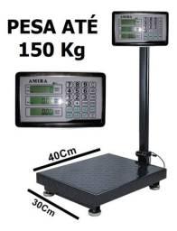 Balança digital até 150 kg plataforma com bateria recarregável nova na cx entrego
