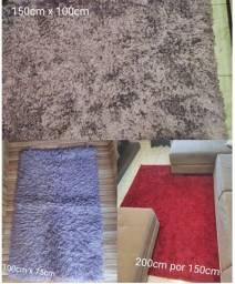 Vendo 3 tapetes (vermelho 2m x 1,5m, lilás 1,5m x 1m e roxo 1m x 0,75m) por 120,00 os