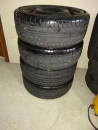 Jogo roda aro 15 pneus 195/55 furacão 4x100 vendo ou troco leia