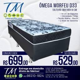 Conjunto Box Solteiro Ômega Morfeu Espuma D33! Frete Grátis! 1 Travesseiro Brinde