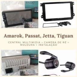 Central Multimídia+Câmera+moldura+instalação (Passat / Jetta / Amarok / Tiguan)