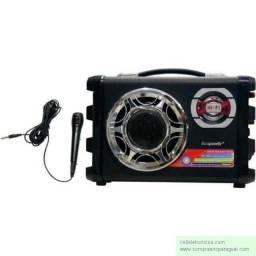 Caixa Som Ecopower Ep 2190 Com Microfone Sistema Karaokê