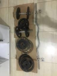 Kit musculação barras e anilhas de 10 e 5kg