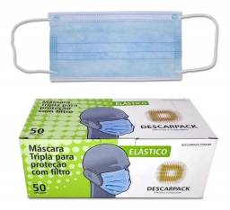 Máscara Cirúrgica Tripla Descartável Descarpack Azul - 50un
