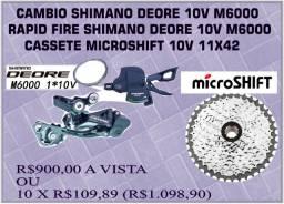 Câmbio Traseiro Deore + Rapid Fire Deore + K7 Microshift 10V 11/42
