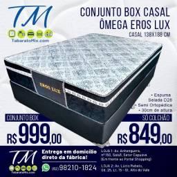 Base + Colchão Casal Eros Lux 30CM Altura Semi- Ortopédico! 10x Sem Juros