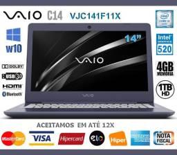 "Notebook Vaio Core i3 4GB de Ram, HD 1TB, Tela 14"", VGA Intel, Noviss, Nota, Gar, Troco!"
