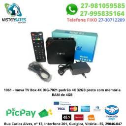 1061 - nova TV Box 4K DIG-7021 padrão 4K 32GB preto com memória RAM de 4GB