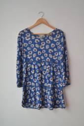 Vestido Azul de Manga Comprida Tam. P