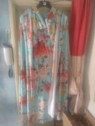 Vestido de Festa Tamanho 48 Verde com estampas floridas