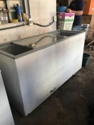 Freezer ótimo funcionamento usado tampa de vidro