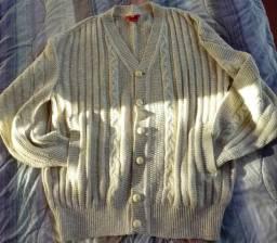 Casaco cardigã tricô lã bege masculino P - Kirk