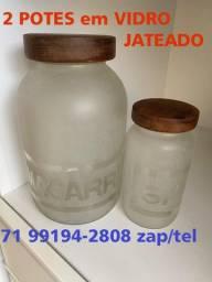 Lindo e Chic ! 2 Potes em Vidro Jateado= 40,00 (Pituba *)