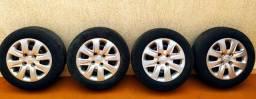 Jogo de rodas de ferro originais Ford aro 14 com 4 pneus Pirelli 175/65