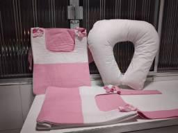 Almofada de amamentação + bolsas de berço multi-uso