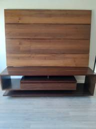 Rack Madeira com painel fundos madeira