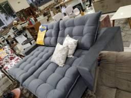 Sofa linha reta todo em fibra siliconada retrátil e reclinável